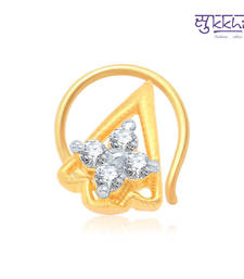 Buy Sukkhi Beguiling Gold and Rhodium Plated CZ Nose Pin(36016NPCZK200) nose-ring online