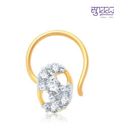 Buy Sukkhi Exquitely Gold and Rhodium Plated CZ Nose Pin(36043NPCZK200) nose-ring online