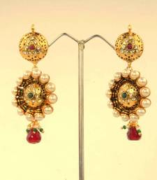 Buy Stylish Gold Earring with Pearl and Diamentes By Adiva ANSATOBOOO66  gifts-for-her online