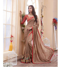 Buy Multicolor embroidered chiffon saree with blouse chiffon-saree online