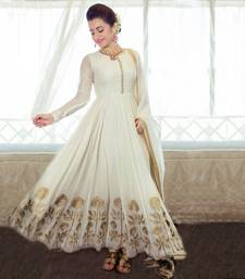 Buy Cream embroidered georgette silk semi stitched slawar anarkali-salwar-kameez online