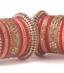 Buy Traditional red kundan bangle set for two hands in matte finish bangles-and-bracelet online