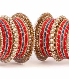 Buy Traditional red blue pearl chakri bangle set bangles-and-bracelet online