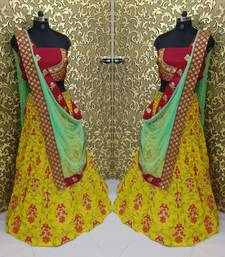 Buy Yellow embroidered banglory silk unstitched lehenga ghagra-choli online