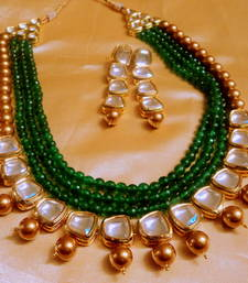Buy royal gold beads and silver kundan necklace set pakistani-jewellery online