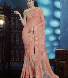 Buy Coral embroidered shimmer saree with blouse party-wear-saree online