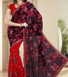 Buy  Glamorous Red Brasso Faux Georgette Party Wear Saree With Blouse brasso-saree online