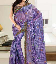 Buy  Riveting Blue Brasso Saree With Blouse brasso-saree online