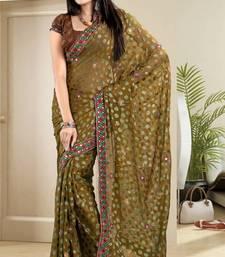 Buy Elegant Mehendi Green Brasso Saree With Blouse brasso-saree online