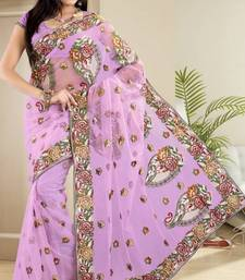 Buy Beautiful Light Lavender Net Party Wear Saree With Blouse net-saree online