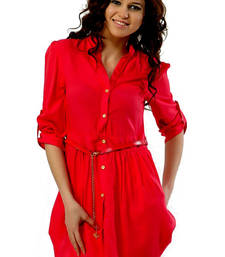 Buy Red plain rayon short-kurtis tunic online