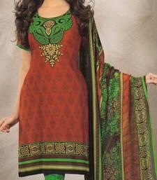 Buy Elegant Crepe Designer Printed Unstitched Dress Material Suit D.No 8156 dress-material online