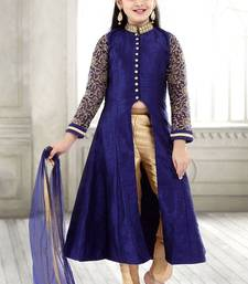 Buy Navy Blue Sequance Embroidery Banglori Silk With Net Anarkali Style ReadyMade Kids Salwar Suit(4-14 year girl) kids-salwar-suit online