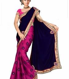 Buy Pink Color Styloce Designer Saree velvet-saree online