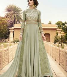 Buy Light Green embroidered georgette semi stitched salwar with dupatta wedding-salwar-kameez online