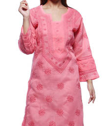 Buy Peach hand embroidred cotton lucknowi chikankari Kurti chikankari-kurti online