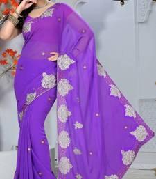 Buy Lavender Color Faux Georgette Saree with Blouse georgette-saree online
