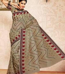 Buy Dove Grey Color Cotton Saree DCS129 cotton-saree online
