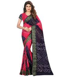 Buy Pink printed bhagalpuri silk saree with blouse bandhani-sarees-bandhej online