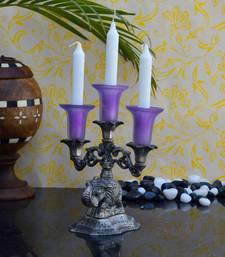 Buy eCraftIndia Violet Crystal Candle Stand candle online