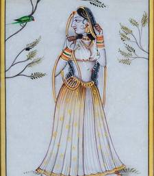 Buy eCraftIndia Ragini Marble Painting with Parrot wall-art online