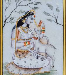 Buy eCraftIndia Ragini Marble Painting playing with Calf wall-art online