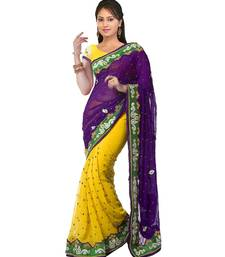 Buy Yellow embroiderd georgette saree with blouse georgette-saree online