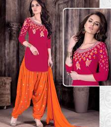 Buy Red embroidered Cotton unstitched salwar with dupatta eid-special-salwar-kameez online