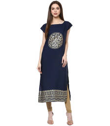Buy Blue faux crepe crepe  stitched kurti long-kurti online