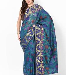 Buy Cotton Silk Stripe Fancy Zari Border Banarasi Saree cotton-silk-saree online