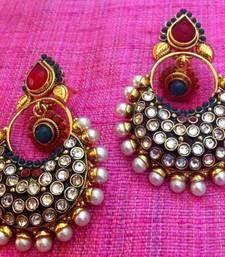 Beautiful pearl dazzle polki flower earring, ethnic Indian Bollywood bali c20mg shop online