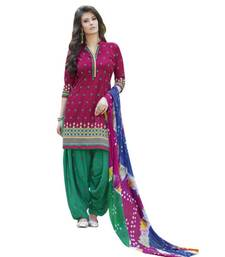 Buy Pink embroidered cotton unstitched salwar with dupatta dress-material online