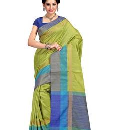 Buy green printed tussar_silk saree with blouse tussar-silk-saree online