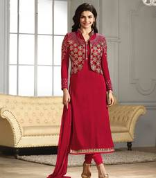 Buy Red embroidered georgette semi stitched salwar with dupatta ethnic-suit online