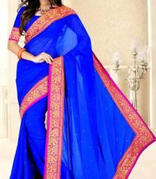 Buy Royal Blue color faux chiffon saree with blouse chiffon-saree online