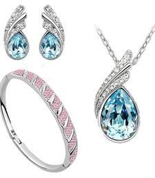 Buy Diwali Gift Hampers - Ocean Blue Austrian Crystal Necklace Set Combo with Crystal earrings and crystal bracelet diwali-discount-offer online