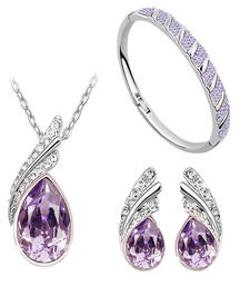 Buy Diwali Gift Hampers - Purple Austrian Crystal Necklace Set Combo with Crystal earrings and crystal bracelet diwali-gift-hampers-idea online