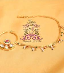 Ruby Zircon & Kundan Nose Ring  shop online