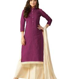 Buy Lawn Purple   embroidered jute_cotton unstitched salwar with dupatta lawn-suit online