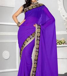 Buy Stylish Purple Color Faux Chiffon Party Wear Saree with Blouse chiffon-saree online