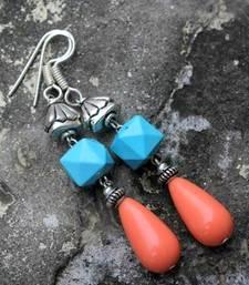 Buy Aqua and Coral Drop Earrings danglers-drop online