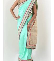 Buy Mint Green South Silk saree with ivory pallu | sweta sutariya silk-saree online
