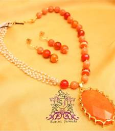 Buy Dazzling Pearl & Real Stone Necklace necklace-set online