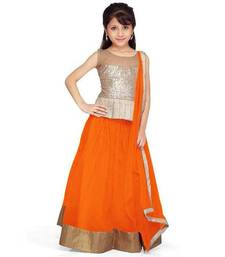 Buy orange jacquard art_silk lehenga with dupatta kids-lehenga-choli online
