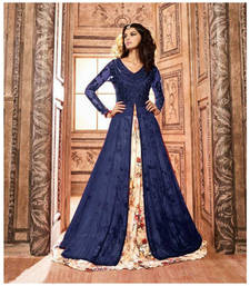 Buy Navy blue printed net semi stitched salwar with dupatta semi-stitched-salwar-suit online