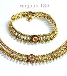 Buy royal ruby pearl broad payal anklet online