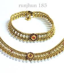 Buy royal ruby pearl broad payal anklet online