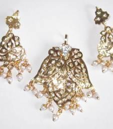 Buy White pearl jadau gold plated pendant dangler earring set Pendant online