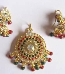 Buy Maroon green navratan jadau gold plated pendant dangler jhumka earring set Pendant online