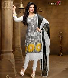 Buy Designer Black & Yellow Chiffon Salwar Kameez  dress-material online